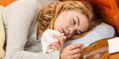 Жінка хвора на грип